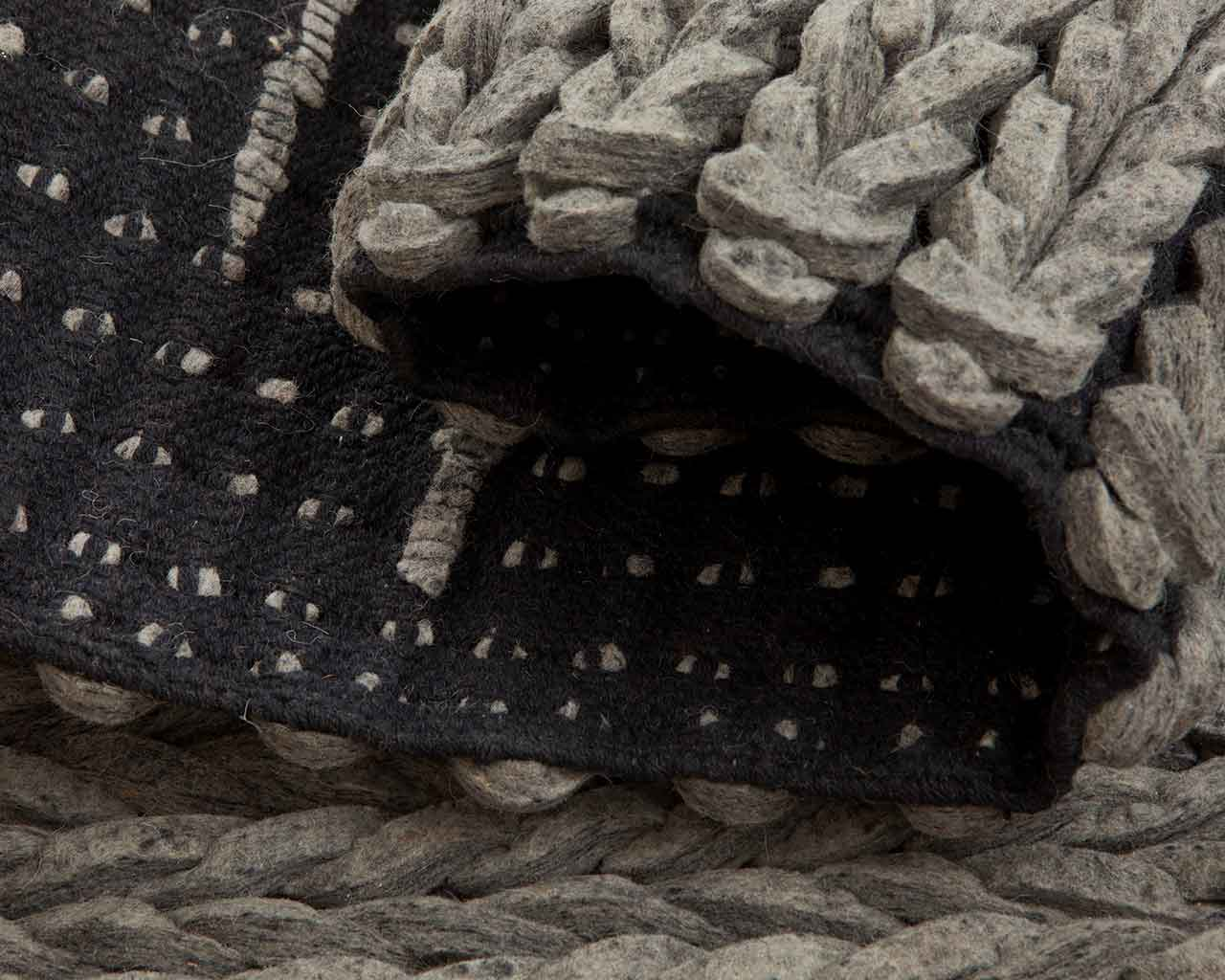 braided wool felted rugs charcoal color 1