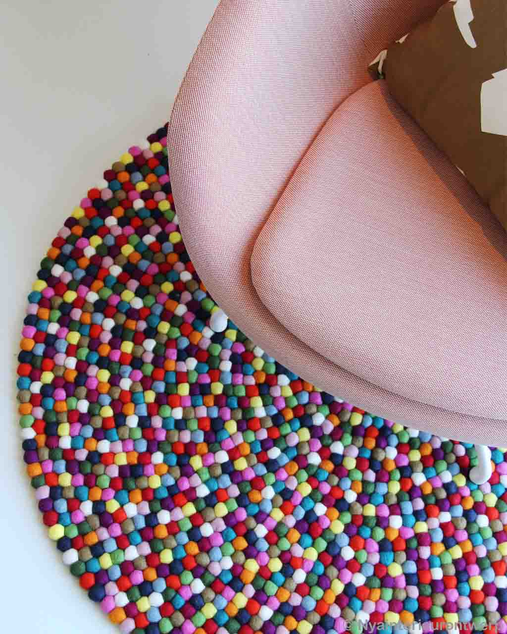 handmade light pink chair with cushion asian round felt ball rugs
