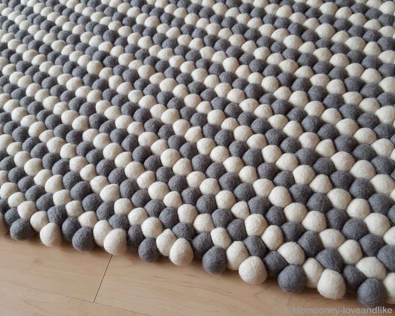 light color wooden floor from nepal gray felt ball rugs