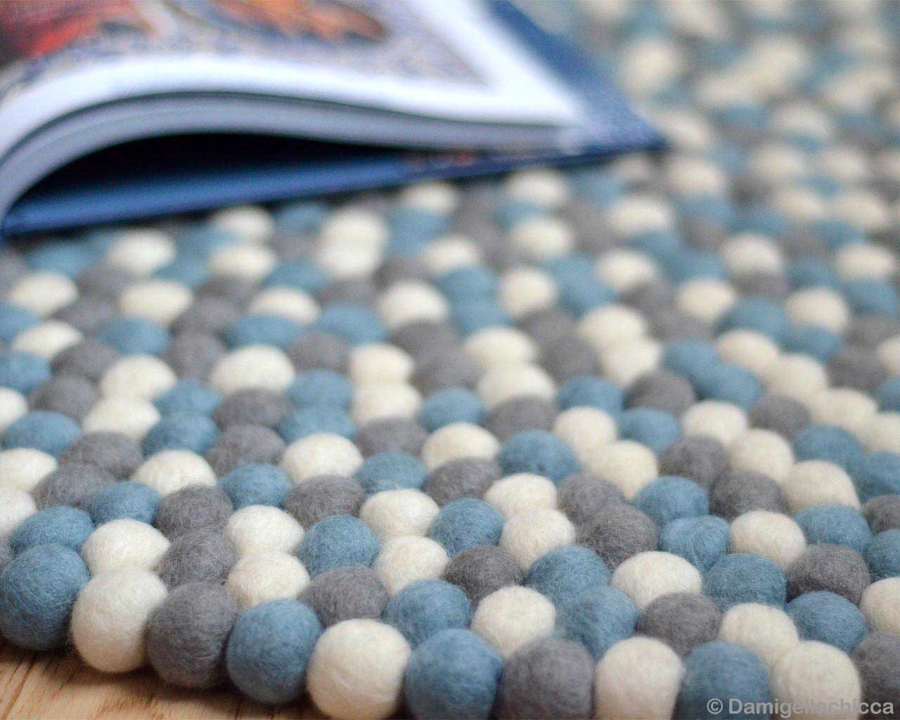 woolen made by nepalian designer light blue white and gray felt ball rugs