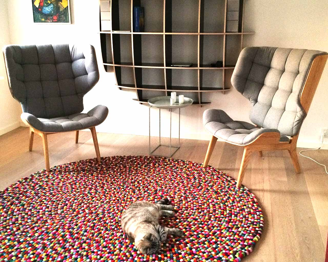 pinocchio rug with toy chairs cat