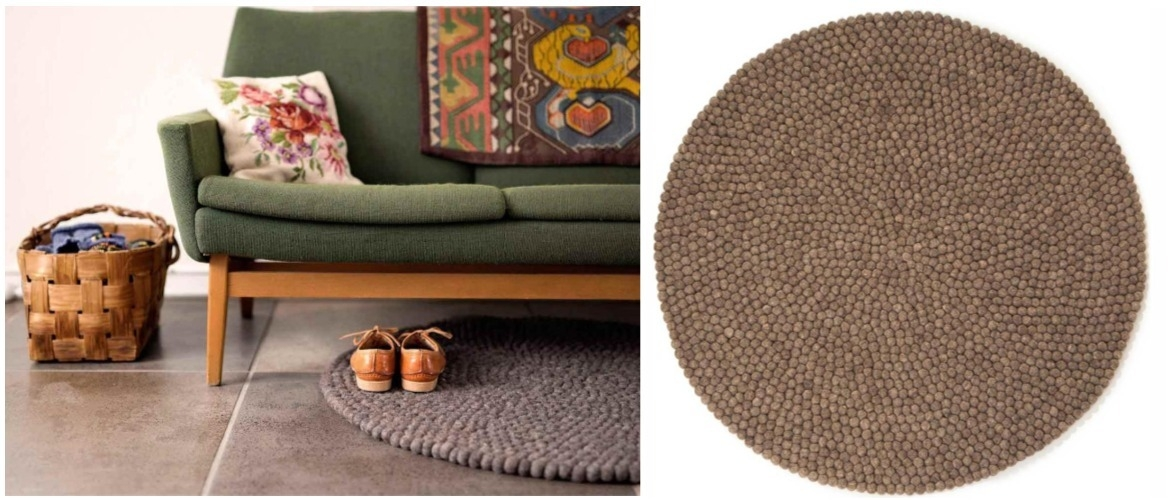 round-brown-felt-ball-rug-in-living-room